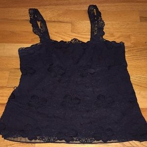 Banana Republic black lace straight lined camisole
